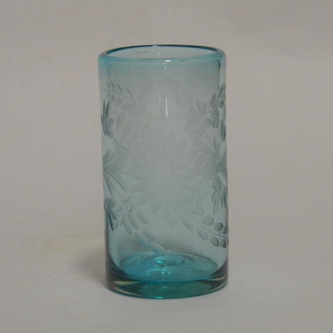 Hand Blown and Etched Turquoise Glass - Highball glass