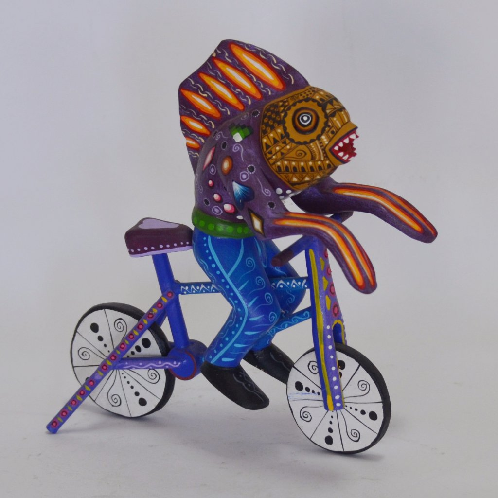 Agustin Cruz Prudencio - Carved Oaxacan Fish on a Bike