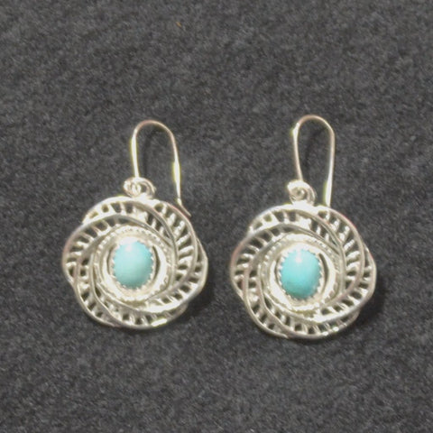 Jewelry - Intricately Crafted Mexican Silver Earrings with Turquoise