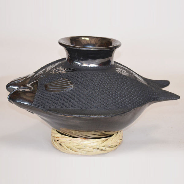 Elba Leon - Oaxacan Black Pottery Fish Pot