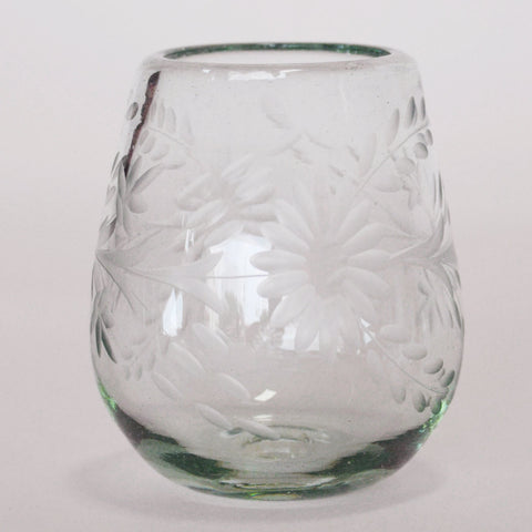 Hand Blown and Etched Glass - Stemless Wine Glass