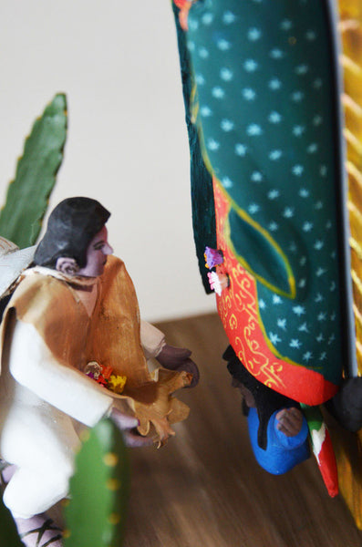 Gabino Reyes - Oaxacan Carved Virgen of Guadalupe and Juan Diego