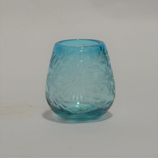 Hand Blown and Etched Turquoise Glass - Stemless Wine Glass