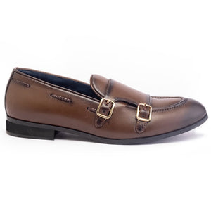 Allure Double Monk Slip Ons - Brown