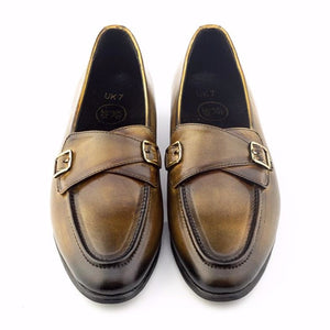 Patina + Art Inverted Double Monk Slip-on - Brown