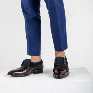 Ashley Button Shoe - Cherry/Blue