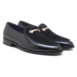 Como Patent Horsebit Loafers - Black