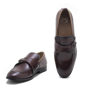 Sarno Single Monk Slip Ons - Burnish Burgundy