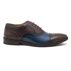 Rapallo Tricolour Oxfords - Brown/Blue/Burgundy