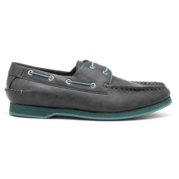 Napa Boat Shoes - Grey/Turquoise
