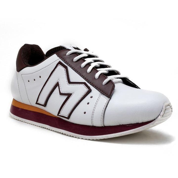 """M""  Monkstory Iconic Trainers - White/Burgundy"