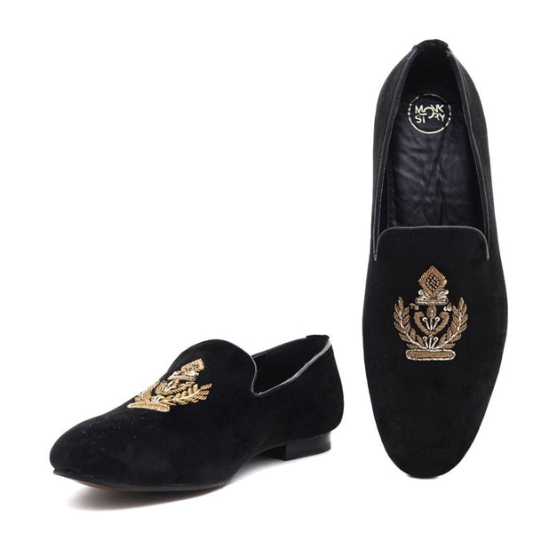 Ross Black Velvet Slip Ons