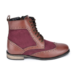 Reboot Lace-ups Wingtip Ankle Boots With Broguing  - Brown & Burgundy
