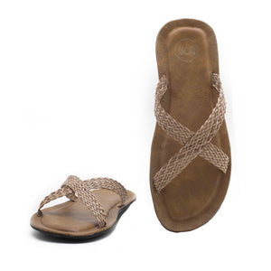 Falun Cross Strap Flipflop - Tan