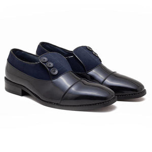 Ashley Button Shoe - Black/Blue