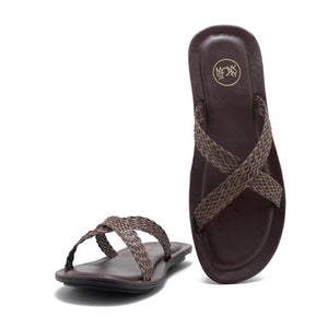 Falun Cross Strap Flipflop - Brown