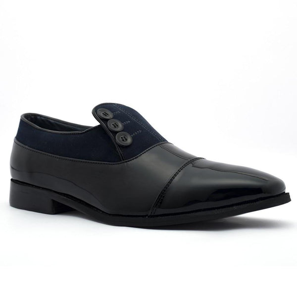 Shoes - Ashley Button Shoe - Black/Blue