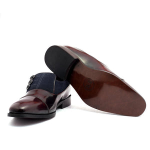 Shoes - Ashley Button Shoe - Cherry/Blue