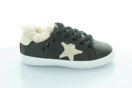 Ava's Star Fur Lace Sneaker-Black