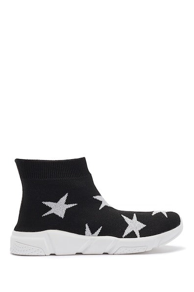Knit High Top Sneaker - Black