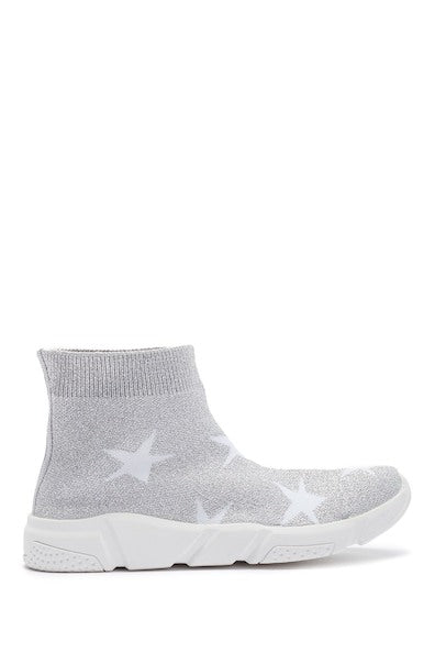 Knit High Top Sneaker - Silver