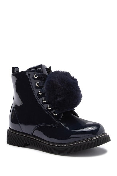 Zipper PomPom Combat Boot - Navy