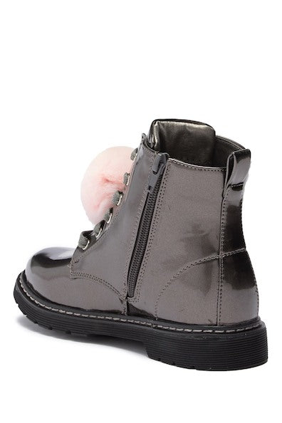 Zipper PomPom Combat Boot - Pewter