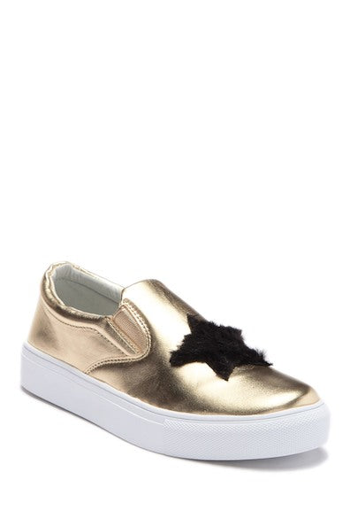 Fur Heart/Star Slip-On Sneaker - Gold