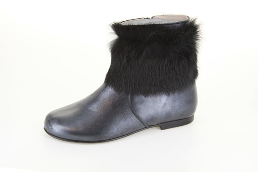 Chloe's Fur Boot - Pewter Metallic
