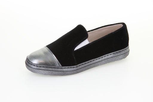 Chelia's Slip-On Sneaker - Black Velvet / Pewter