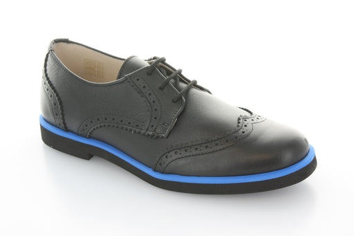 Boys Wingtip Lace  - Black Leather