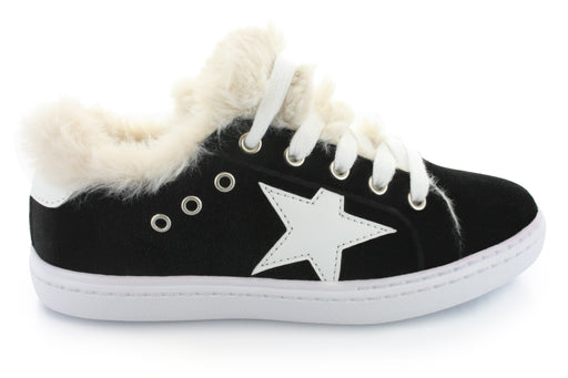 Ava's Fur Star Lace Sneaker - Black Velvet