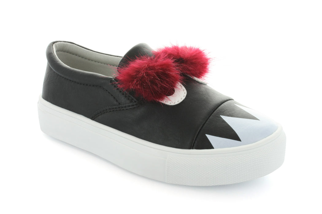 Charlie Monster Fur Slip-On Sneaker - Black