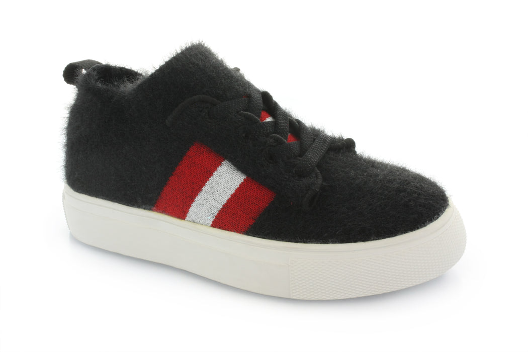 Kai Stripe Knit Furry Sneaker - Black