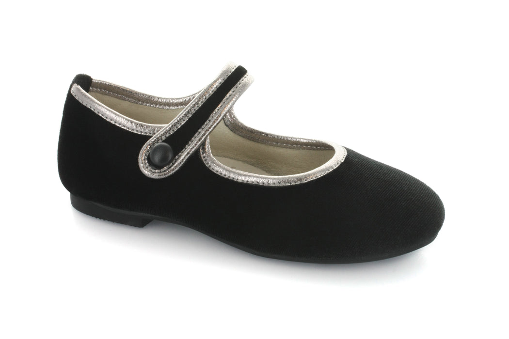 Jenna's Mary Jane - Black Velvet/Pewter