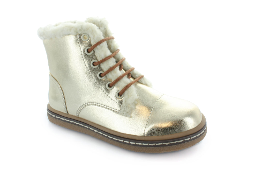 Aubrey's Fur Lace Boot - Gold