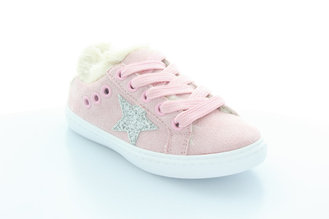 Ava's Star Fur Lace Sneaker-Pink