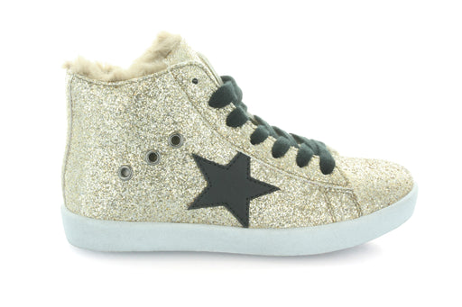 Fay's Fur Star Lace High Top-Gold Glitter