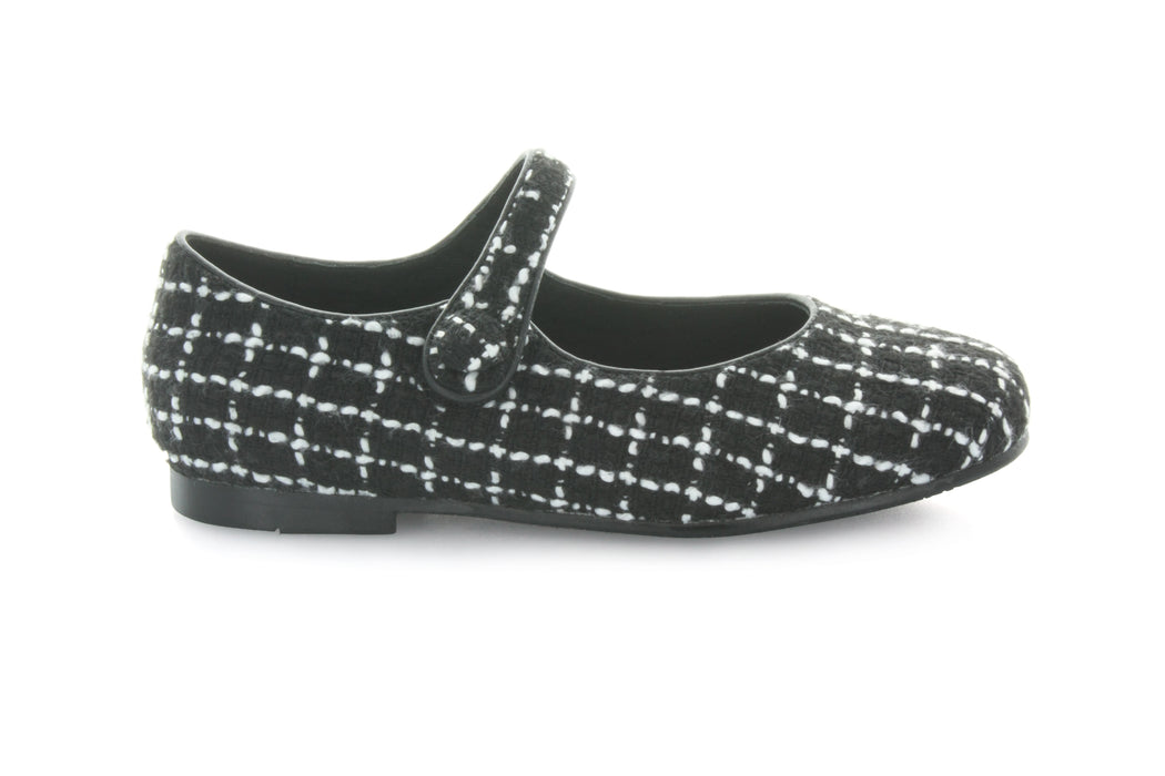 Jenna's Mary Jane - Black/White Tweed