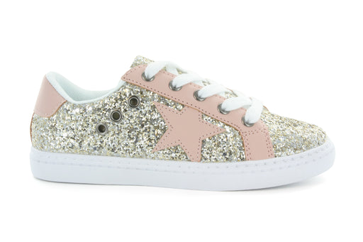 Mia Star Lace Sneaker - Gold Glitter / Pink