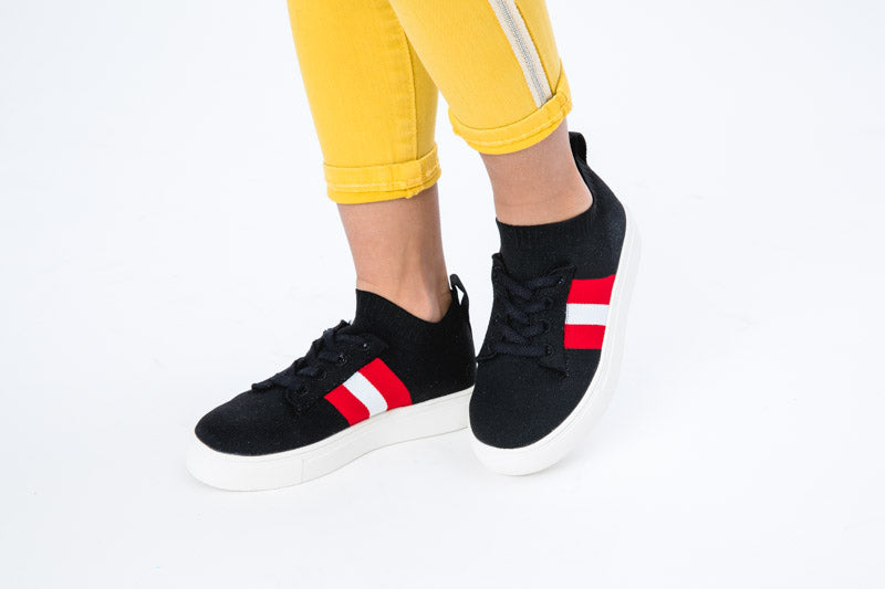 Kai Strip Knit Sock Sneaker - Black