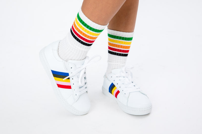 Poppy Rainbow Strip Lace Sneaker - White
