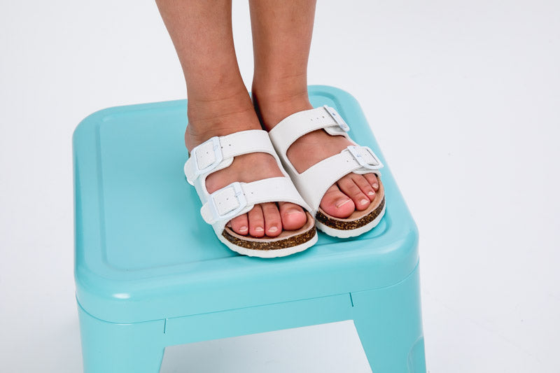 Harper Double Strap Slide Sandal - White