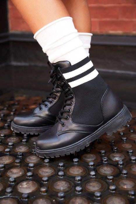 Dara's Lace Combat Boot - Black
