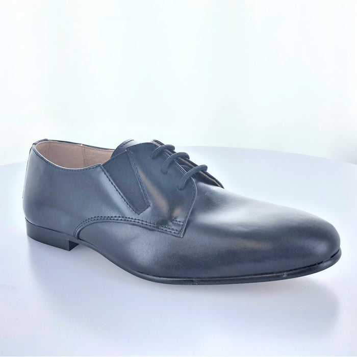 Eric's Plain Toe Lace with Side Elastic  - Black Leather