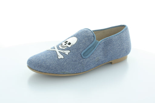 Eva Skull Smoking Shoe - Denim