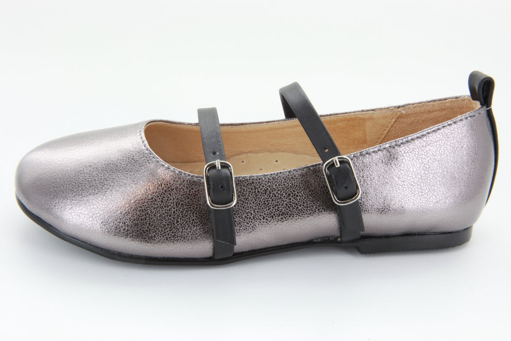 Double Strap Flat - Pewter / Black Straps