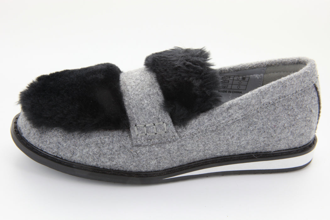 Fur Platform Loafer - Grey / Black Fur