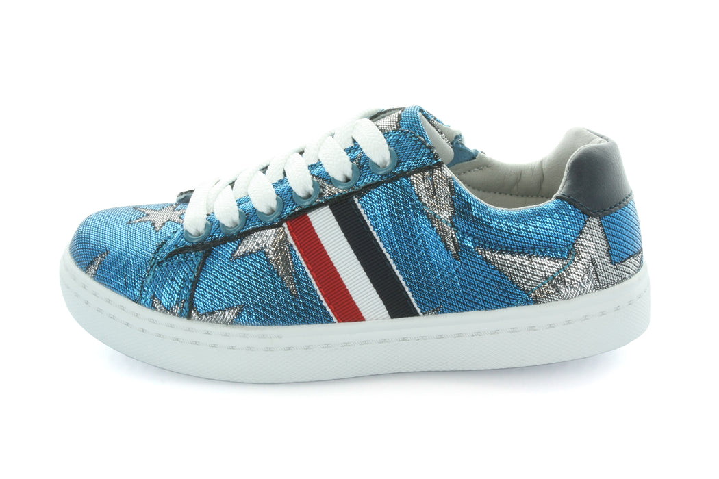 Ava Star and Side Stripe Lace Sneaker - Blue Metallic