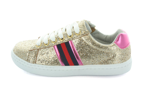 Olivia Side Stripe Lace Sneaker - Gold Glitter